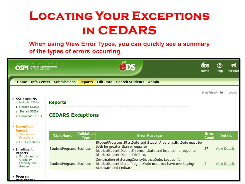 CEDARS Student Programs File (i) Element I09 – Exit Reason Code CEDARS Field Name: Exit Reason Code Reporting null due to the fact that the field is optional and is not available in the database.