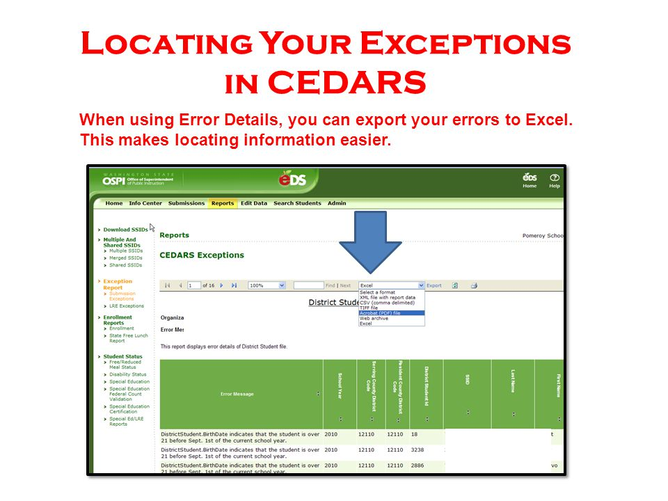 When using Error Details, you can export your errors to Excel. This makes locating information easier. Locating Your Exceptions in CEDARS
