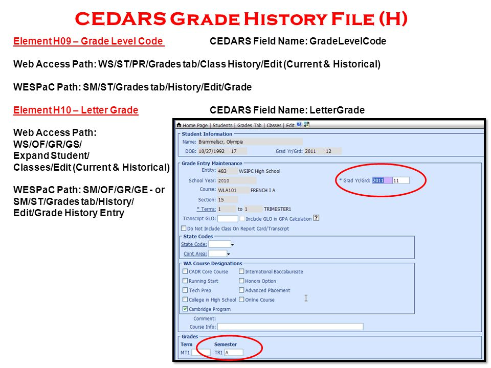 CEDARS Grade History File (H) Element H09 – Grade Level Code CEDARS Field Name: GradeLevelCode Web Access Path: WS/ST/PR/Grades tab/Class History/Edit (Current & Historical) WESPaC Path: SM/ST/Grades tab/History/Edit/Grade Element H10 – Letter GradeCEDARS Field Name: LetterGrade Web Access Path: WS/OF/GR/GS/ Expand Student/ Classes/Edit (Current & Historical) WESPaC Path: SM/OF/GR/GE - or SM/ST/Grades tab/History/ Edit/Grade History Entry
