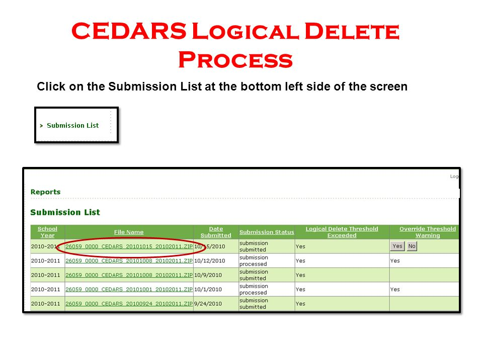 Click on the Submission List at the bottom left side of the screen CEDARS Logical Delete Process