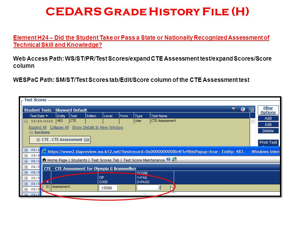 CEDARS Grade History File (H) Element H24 – Did the Student Take or Pass a State or Nationally Recognized Assessment of Technical Skill and Knowledge.