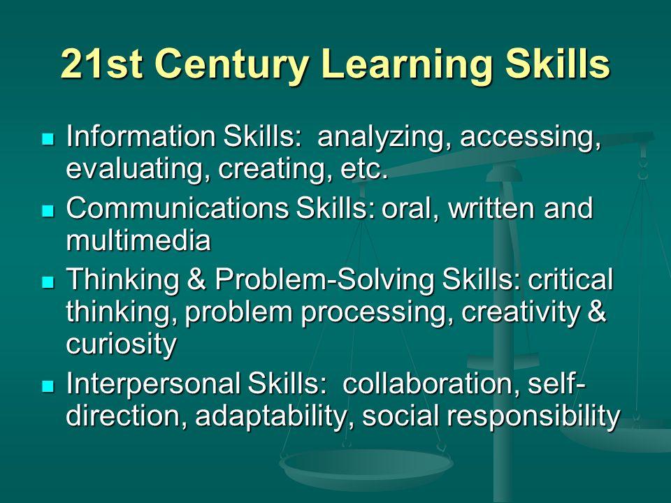 21st Century Learning Skills Information Skills: analyzing, accessing, evaluating, creating, etc.