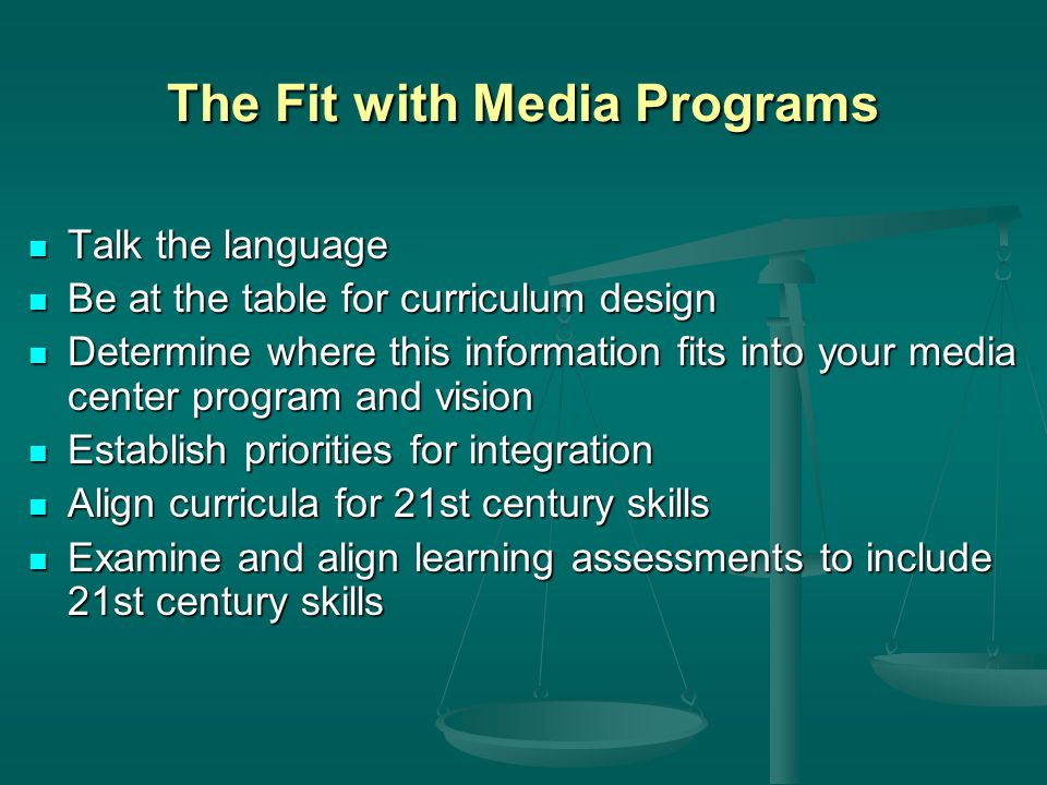 The Fit with Media Programs Talk the language Talk the language Be at the table for curriculum design Be at the table for curriculum design Determine