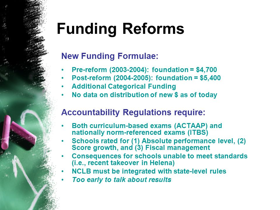 Funding Reforms New Funding Formulae: Pre-reform (2003-2004): foundation = $4,700 Post-reform (2004-2005): foundation = $5,400 Additional Categorical Funding No data on distribution of new $ as of today Accountability Regulations require: Both curriculum-based exams (ACTAAP) and nationally norm-referenced exams (ITBS) Schools rated for (1) Absolute performance level, (2) Score growth, and (3) Fiscal management Consequences for schools unable to meet standards (i.e., recent takeover in Helena) NCLB must be integrated with state-level rules Too early to talk about results