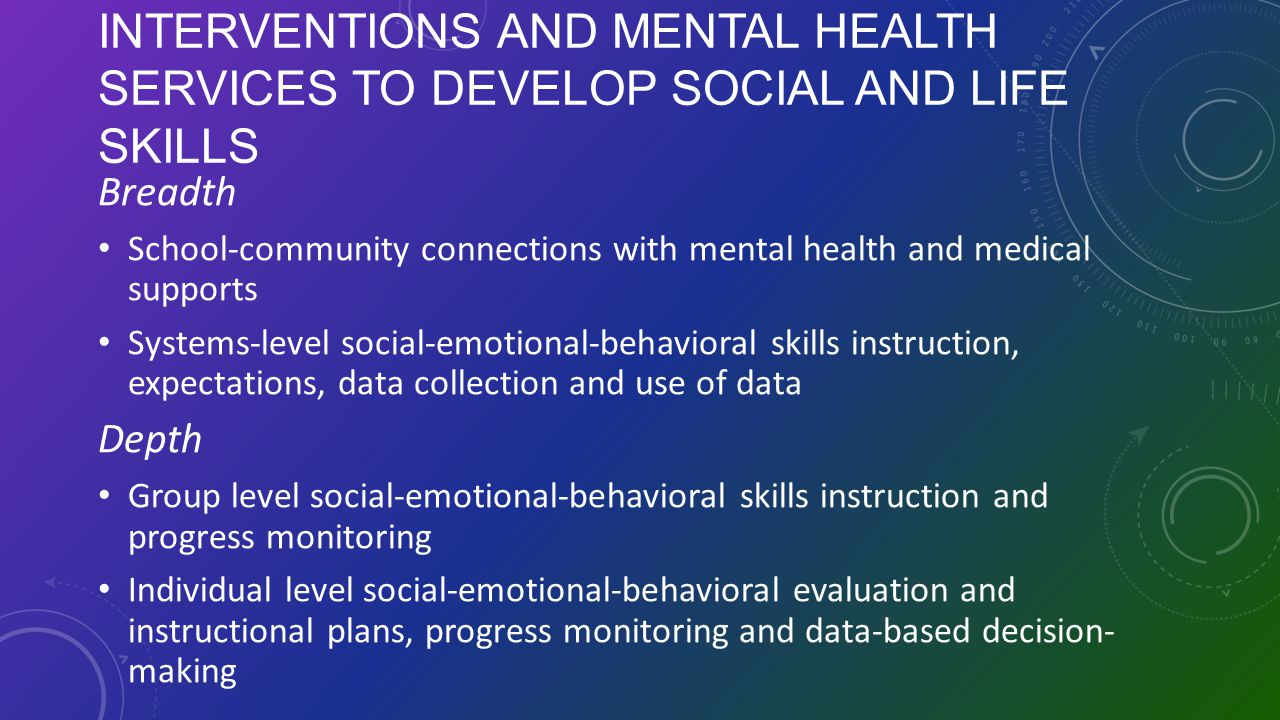 INTERVENTIONS AND MENTAL HEALTH SERVICES TO DEVELOP SOCIAL AND LIFE SKILLS Breadth School-community connections with mental health and medical support