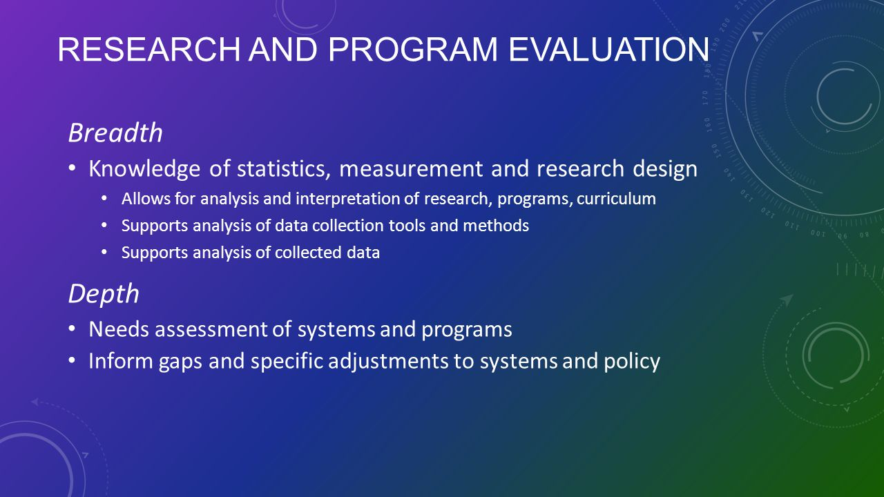 RESEARCH AND PROGRAM EVALUATION Breadth Knowledge of statistics, measurement and research design Allows for analysis and interpretation of research, p