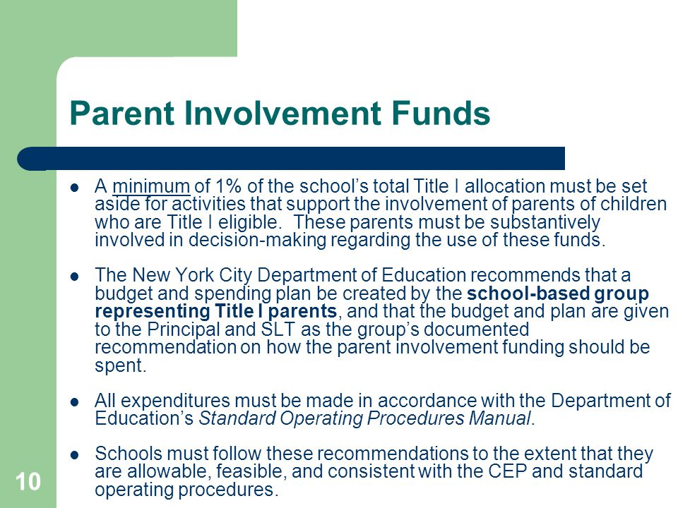 10 Parent Involvement Funds A minimum of 1% of the school's total Title I allocation must be set aside for activities that support the involvement of