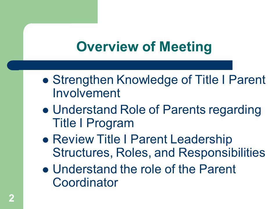 13 A flexible schedule of regular meetings with parents—before, during, and after the school day— so that they may network with other parents, make suggestions, and provide input into decisions relating to the education of their children; How parents will be provided with timely information about instructional programs, curriculum, performance standards and assessment instruments as well as their child's individual student assessment results and proficiency levels and their meaning, promotion policy, after school and summer programs and SES Parent Involvement Policy (PIP)