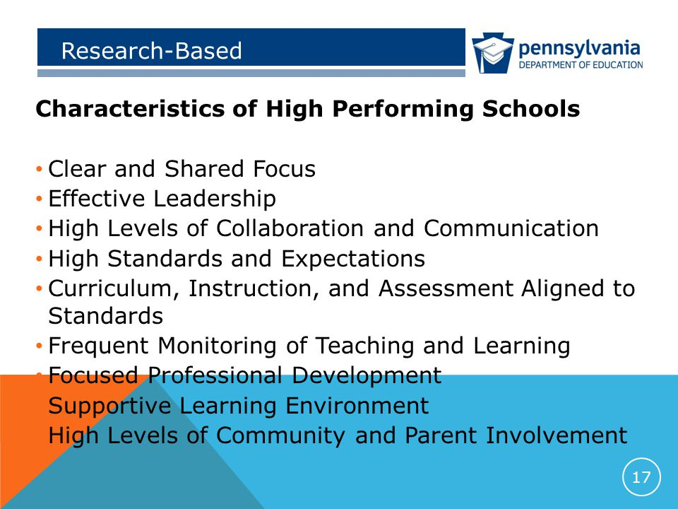 Research-Based Characteristics of High Performing Schools Clear and Shared Focus Effective Leadership High Levels of Collaboration and Communication High Standards and Expectations Curriculum, Instruction, and Assessment Aligned to Standards Frequent Monitoring of Teaching and Learning Focused Professional Development Supportive Learning Environment High Levels of Community and Parent Involvement 17