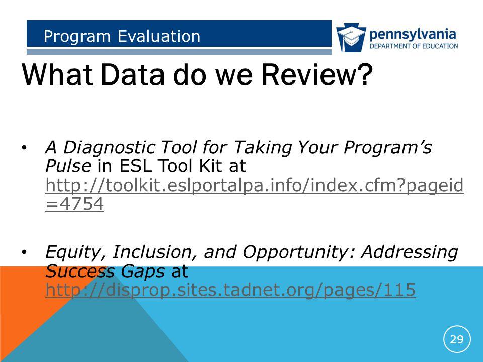 Program Evaluation What Data do we Review.