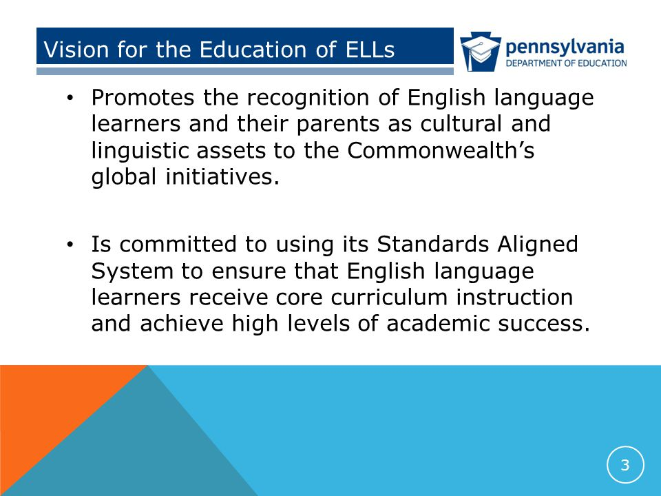 Objectives Identify current initiatives and their impact on the education of English language learners in Pennsylvania Propose a team approach to engage educators in collaborative efforts to enhance the academic opportunities and achievement of English language learners Identify resources, professional development, and technical support available to assist LEAs in implementing a team-focused, student-centered ESL Program 4