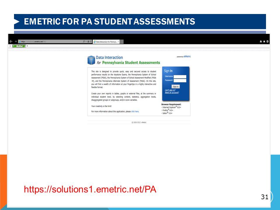 EMETRIC FOR PA STUDENT ASSESSMENTS 31 https://solutions1.emetric.net/PA