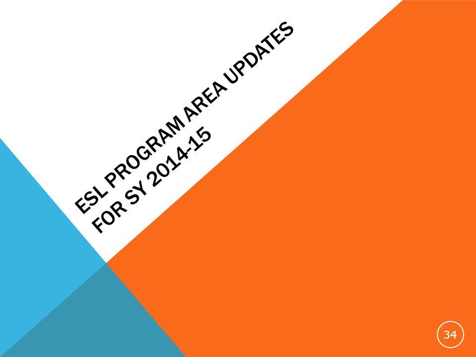ESL PROGRAM AREA UPDATES FOR SY 2014-15 34
