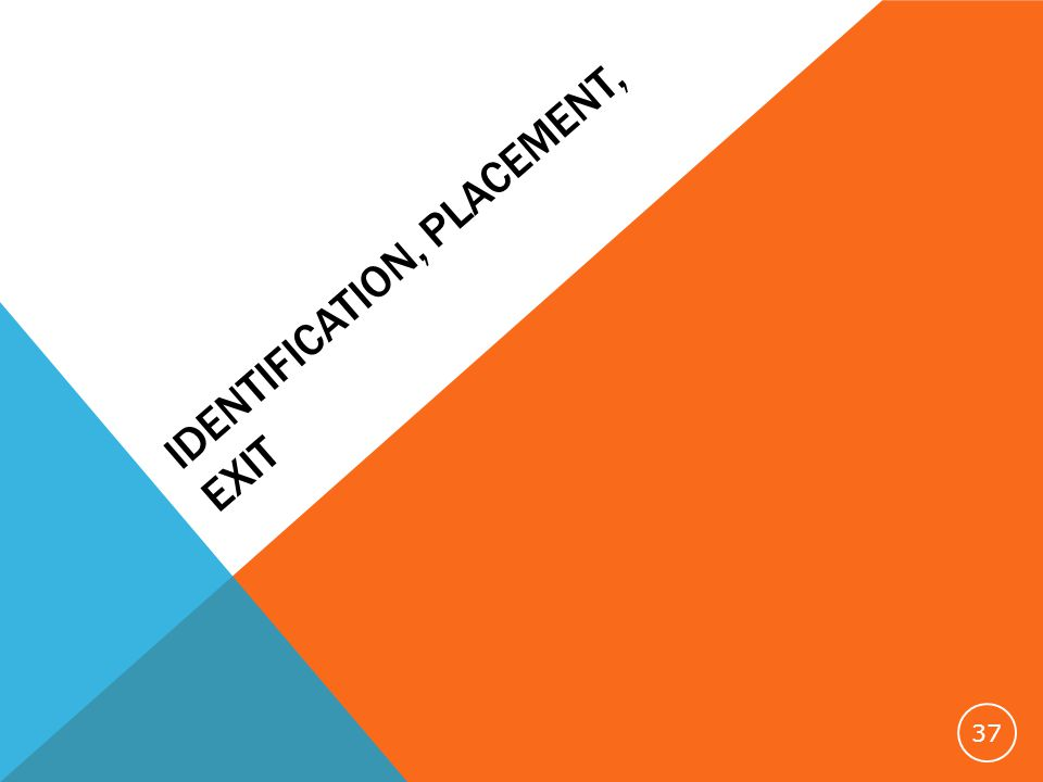 IDENTIFICATION, PLACEMENT, EXIT 37
