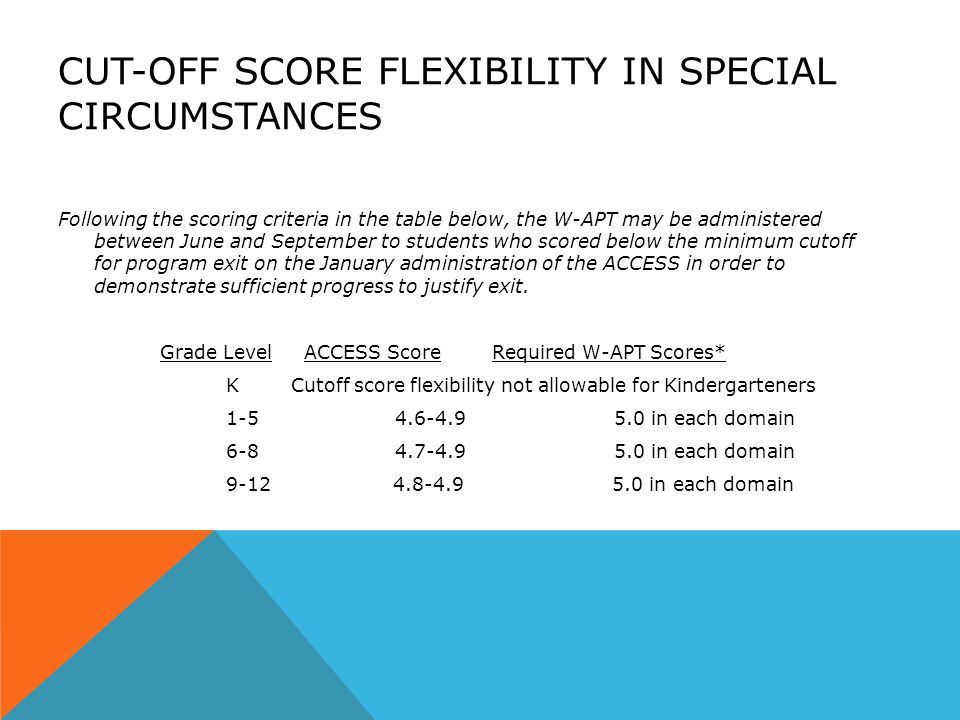 CUT-OFF SCORE FLEXIBILITY IN SPECIAL CIRCUMSTANCES Following the scoring criteria in the table below, the W-APT may be administered between June and September to students who scored below the minimum cutoff for program exit on the January administration of the ACCESS in order to demonstrate sufficient progress to justify exit.