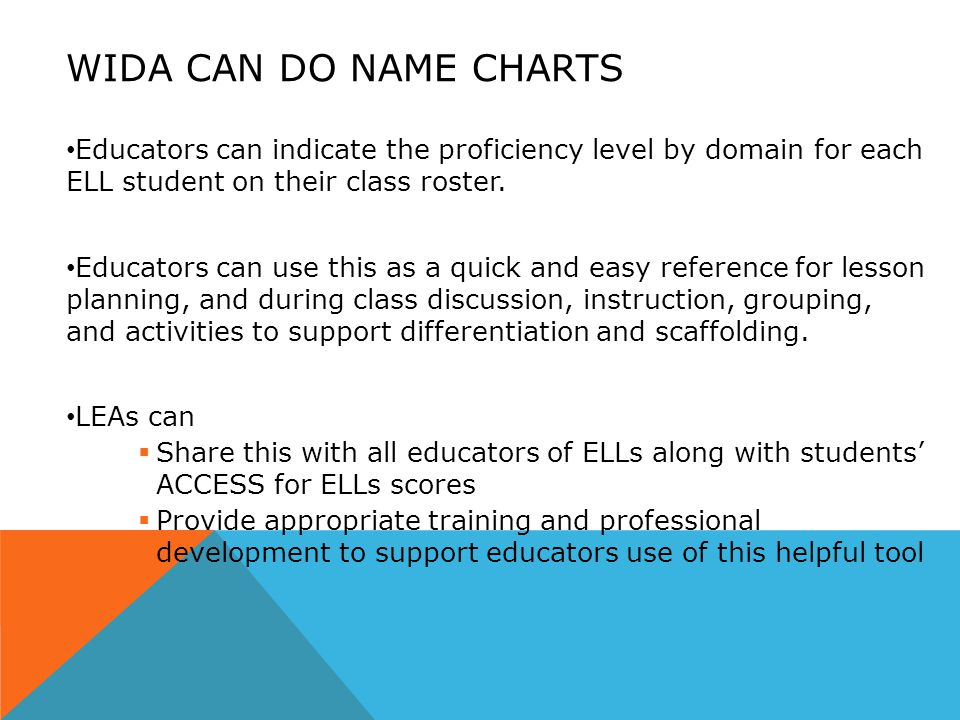 WIDA CAN DO NAME CHARTS Educators can indicate the proficiency level by domain for each ELL student on their class roster.