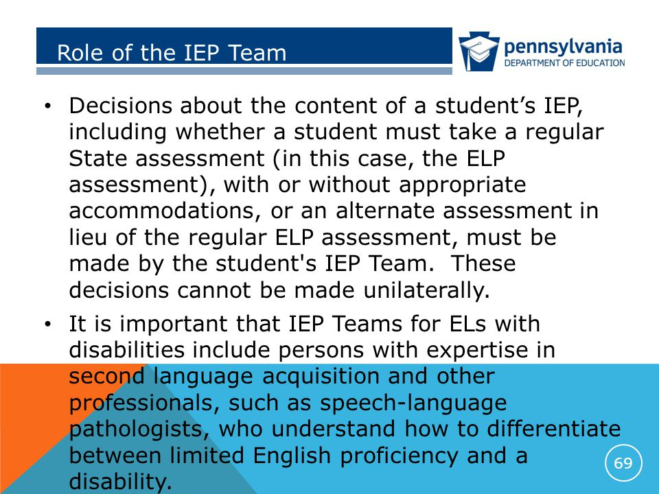 Role of the IEP Team Decisions about the content of a student's IEP, including whether a student must take a regular State assessment (in this case, the ELP assessment), with or without appropriate accommodations, or an alternate assessment in lieu of the regular ELP assessment, must be made by the student s IEP Team.