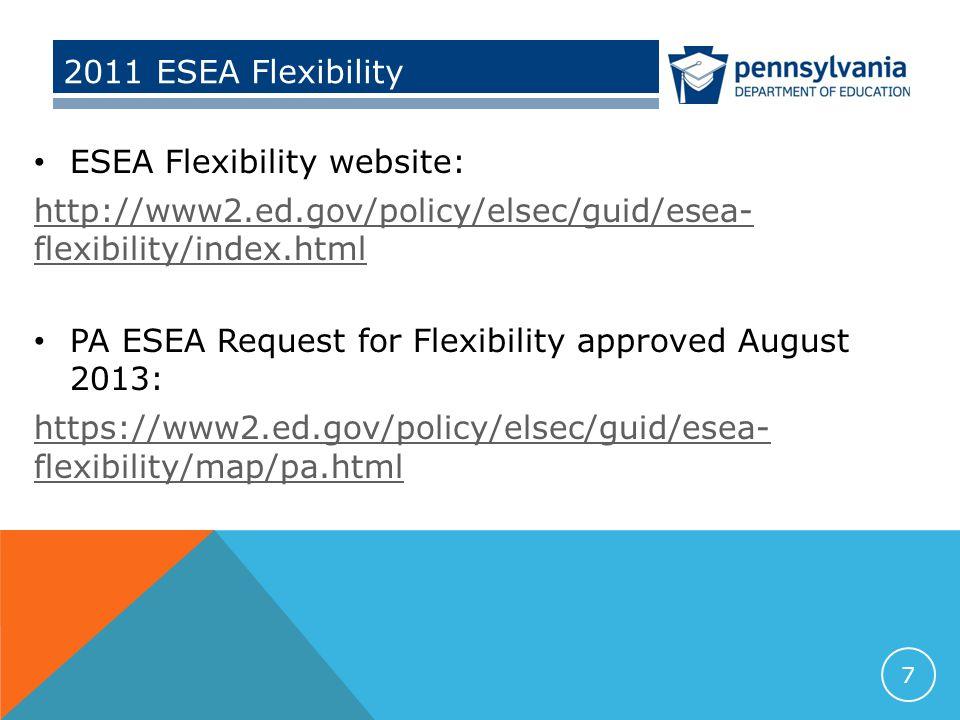2011 ESEA Flexibility ESEA Flexibility website: http://www2.ed.gov/policy/elsec/guid/esea- flexibility/index.html PA ESEA Request for Flexibility approved August 2013: https://www2.ed.gov/policy/elsec/guid/esea- flexibility/map/pa.html 7