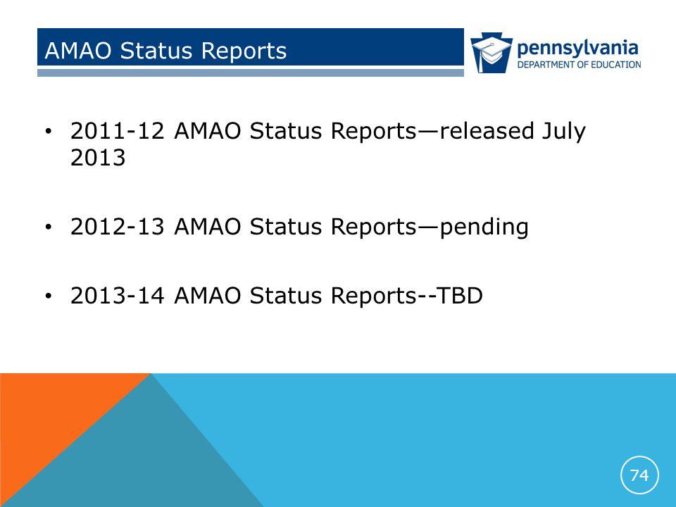 AMAO Status Reports 2011-12 AMAO Status Reports—released July 2013 2012-13 AMAO Status Reports—pending 2013-14 AMAO Status Reports--TBD 74