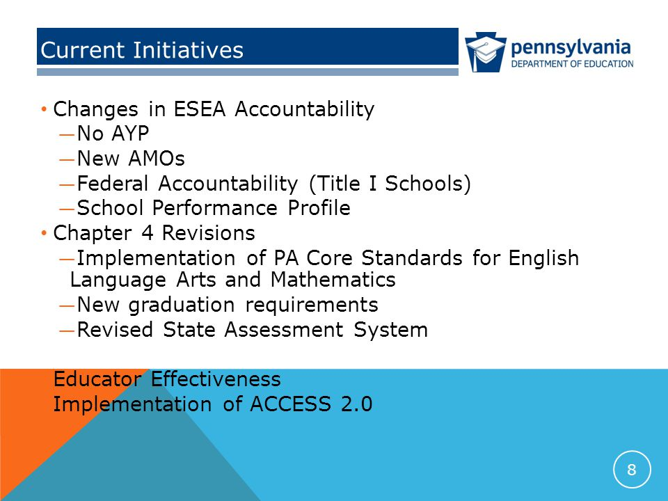 Current Initiatives Changes in ESEA Accountability — No AYP — New AMOs — Federal Accountability (Title I Schools) — School Performance Profile Chapter 4 Revisions — Implementation of PA Core Standards for English Language Arts and Mathematics — New graduation requirements — Revised State Assessment System Educator Effectiveness Implementation of ACCESS 2.0 8