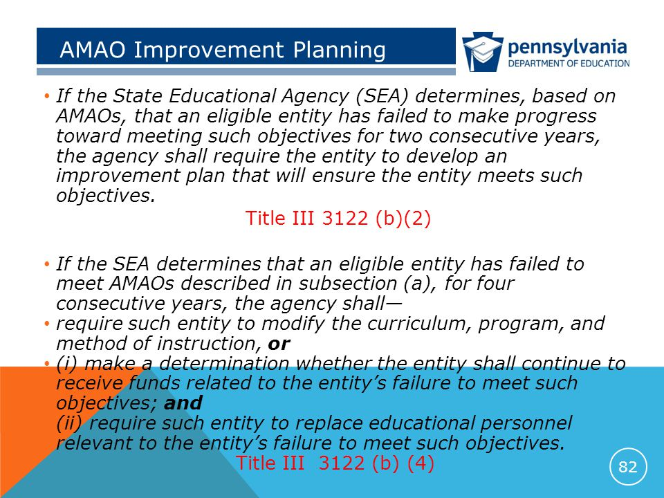 AMAO Improvement Planning If the State Educational Agency (SEA) determines, based on AMAOs, that an eligible entity has failed to make progress toward meeting such objectives for two consecutive years, the agency shall require the entity to develop an improvement plan that will ensure the entity meets such objectives.