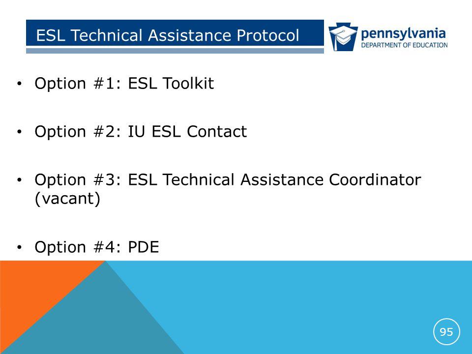 ESL Technical Assistance Protocol Option #1: ESL Toolkit Option #2: IU ESL Contact Option #3: ESL Technical Assistance Coordinator (vacant) Option #4: PDE 95