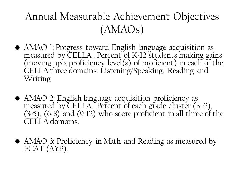 Annual Measurable Achievement Objectives (AMAOs) AMAO 1: Progress toward English language acquisition as measured by CELLA. Percent of K-12 students m