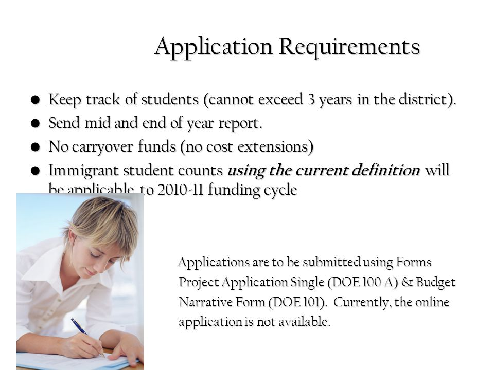 Application Requirements Application Requirements Keep track of students (cannot exceed 3 years in the district).Keep track of students (cannot exceed 3 years in the district).