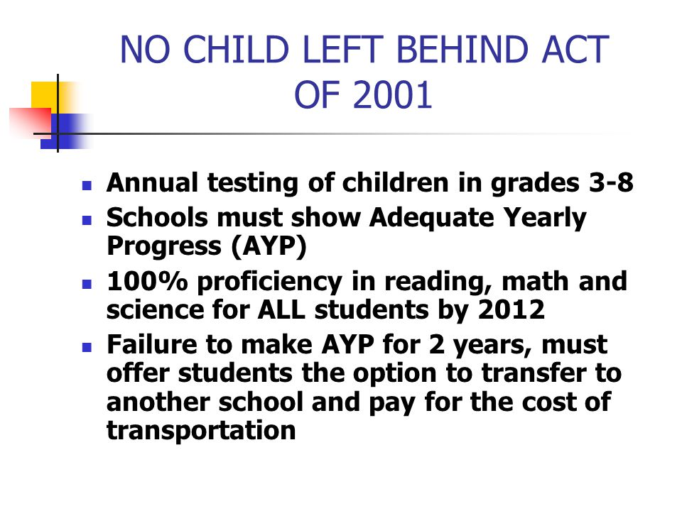 NO CHILD LEFT BEHIND ACT OF 2001 Annual testing of children in grades 3-8 Schools must show Adequate Yearly Progress (AYP) 100% proficiency in reading