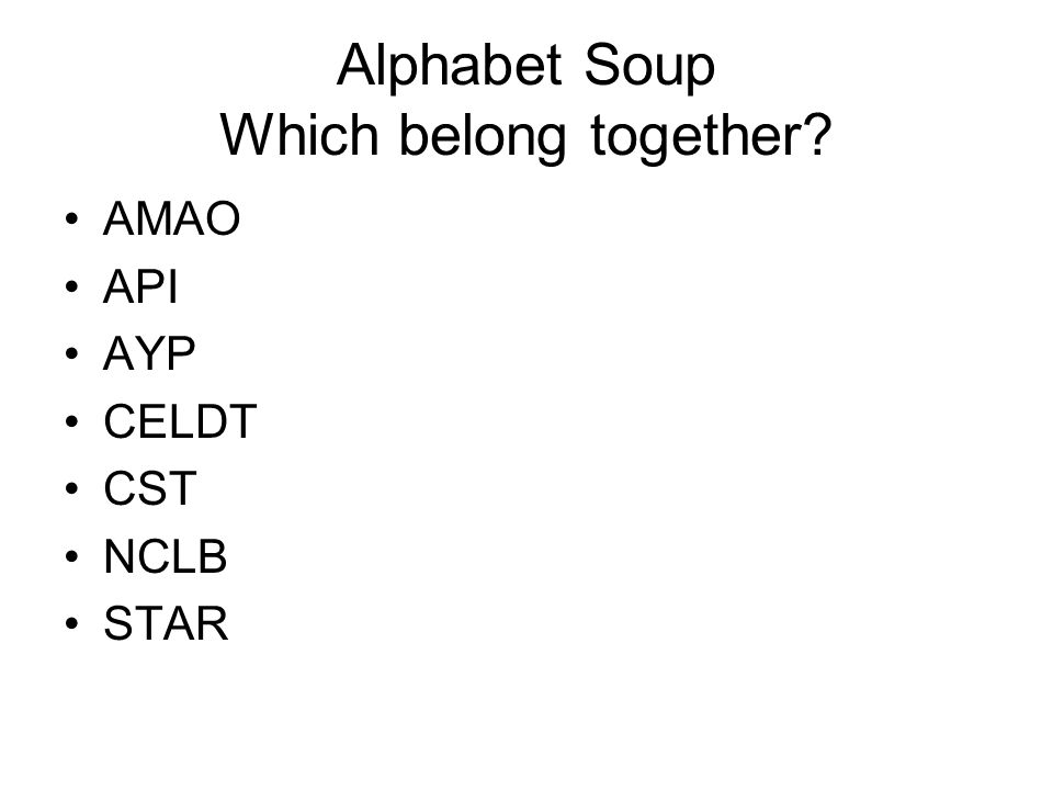 Alphabet Soup Which belong together? AMAO API AYP CELDT CST NCLB STAR