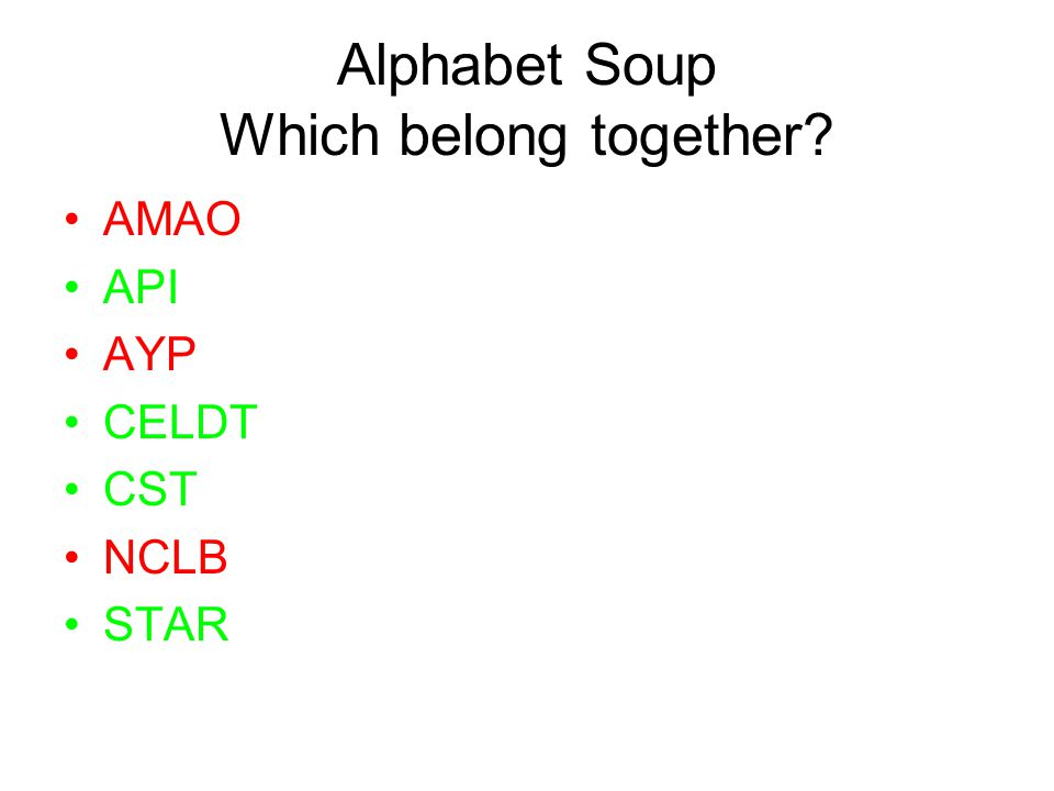 Alphabet Soup Which belong together AMAO API AYP CELDT CST NCLB STAR