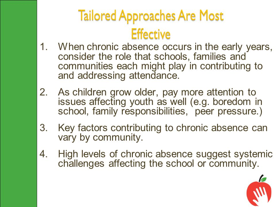 1.When chronic absence occurs in the early years, consider the role that schools, families and communities each might play in contributing to and addressing attendance.