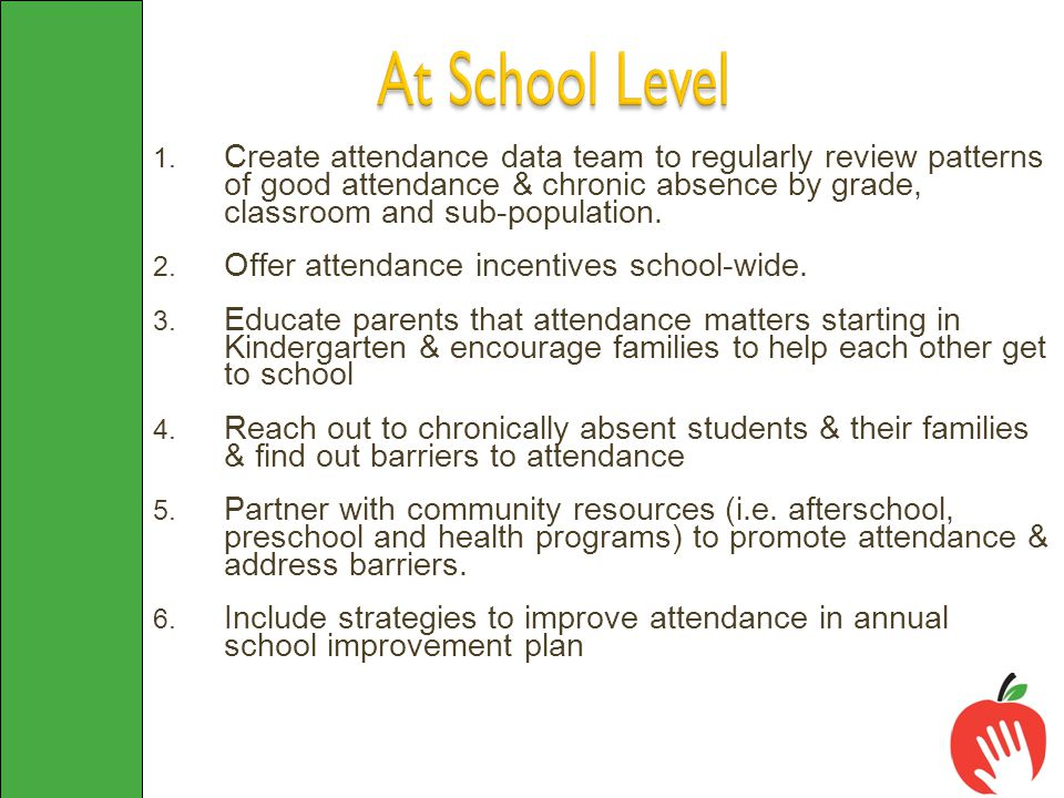 1. Create attendance data team to regularly review patterns of good attendance & chronic absence by grade, classroom and sub-population. 2. Offer atte