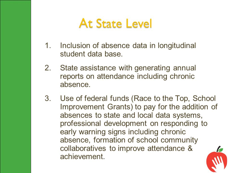 1.Inclusion of absence data in longitudinal student data base. 2.State assistance with generating annual reports on attendance including chronic absen
