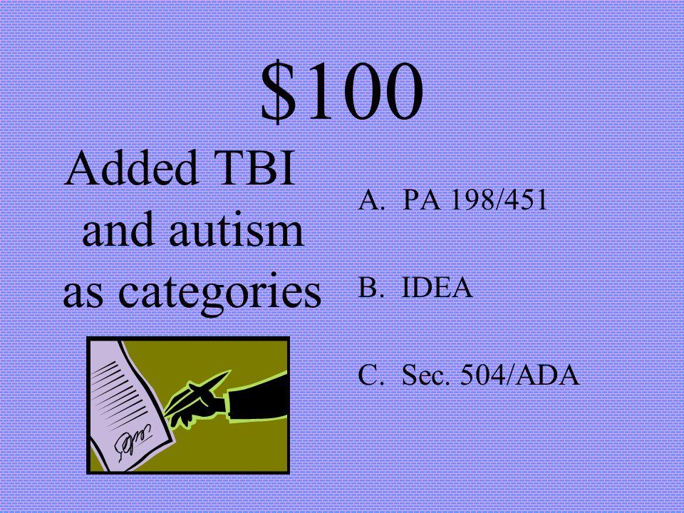 $100 Michigan Legislation A. PA 198/451 B. IDEA C. Sec. 504/ADA