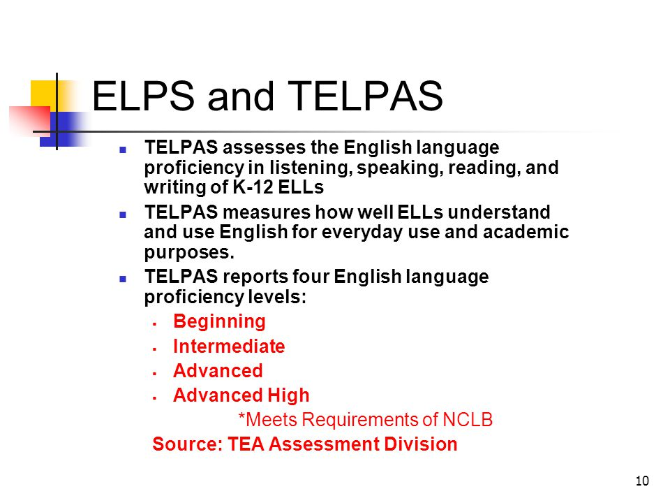 10 ELPS and TELPAS TELPAS assesses the English language proficiency in listening, speaking, reading, and writing of K-12 ELLs TELPAS measures how well
