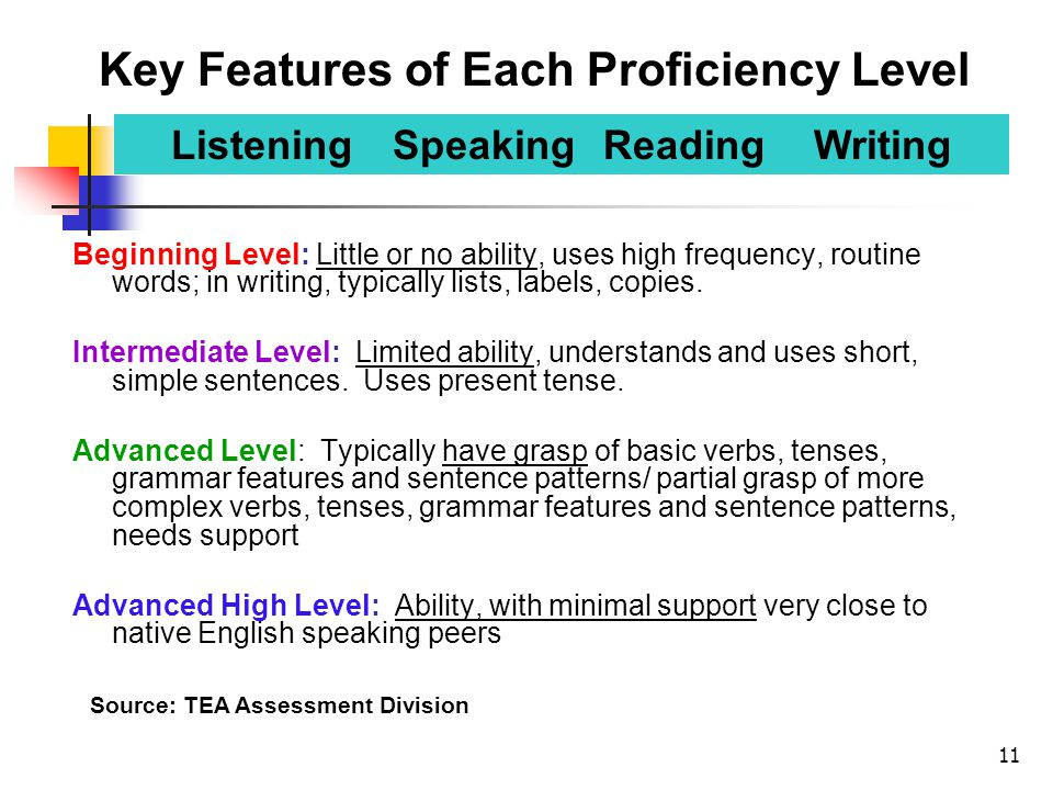 11 Beginning Level: Little or no ability, uses high frequency, routine words; in writing, typically lists, labels, copies. Intermediate Level: Limited