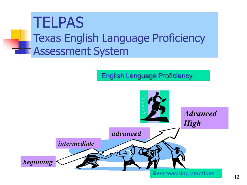 Goal # 2 English Language Proficiency English Language Proficiency beginning intermediate advanced Advanced High Best teaching practices TELPAS Texas English Language Proficiency Assessment System 12
