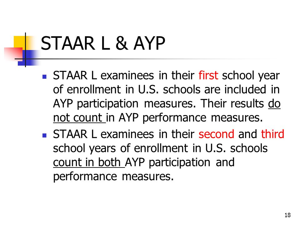 STAAR L & AYP STAAR L examinees in their first school year of enrollment in U.S.