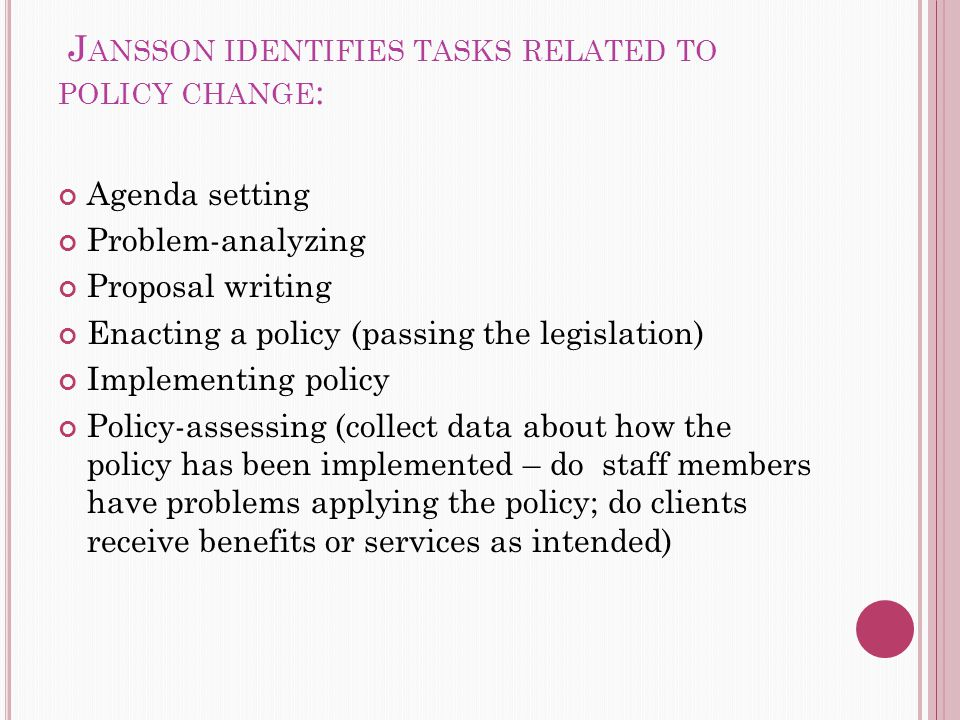 J ANSSON IDENTIFIES TASKS RELATED TO POLICY CHANGE : Agenda setting Problem-analyzing Proposal writing Enacting a policy (passing the legislation) Implementing policy Policy-assessing (collect data about how the policy has been implemented – do staff members have problems applying the policy; do clients receive benefits or services as intended)