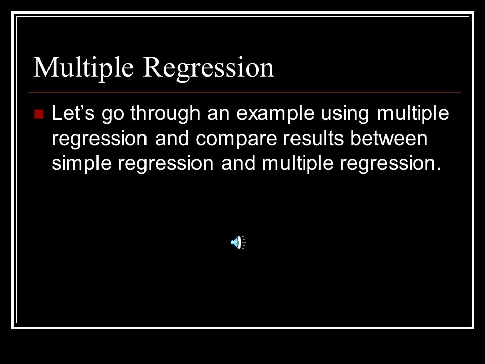 Multiple Regression II Fenster