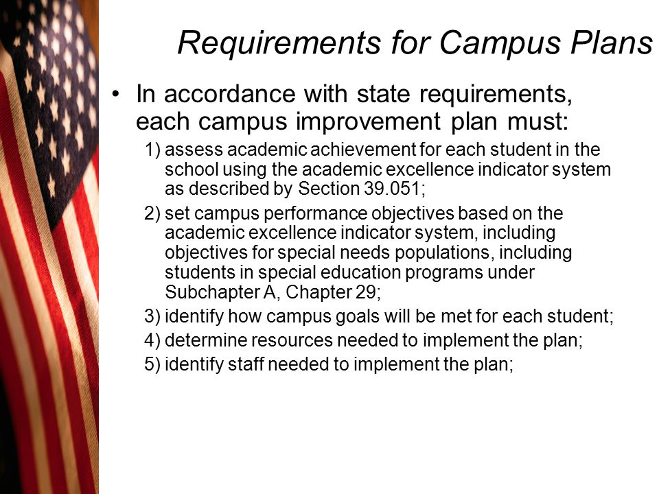 Requirements for Campus Plans In accordance with state requirements, each campus improvement plan must: 6) set timelines for reaching the goals; 7) measure progress toward the performance objectives periodically to ensure that the plan is resulting in academic improvement; 8) include goals and methods for violence prevention and intervention on campus; and 9) provide for a program to encourage parental involvement at the campus.