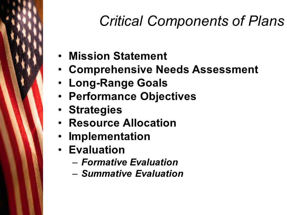 Critical Components of Plans Mission Statement Comprehensive Needs Assessment Long-Range Goals Performance Objectives Strategies Resource Allocation I