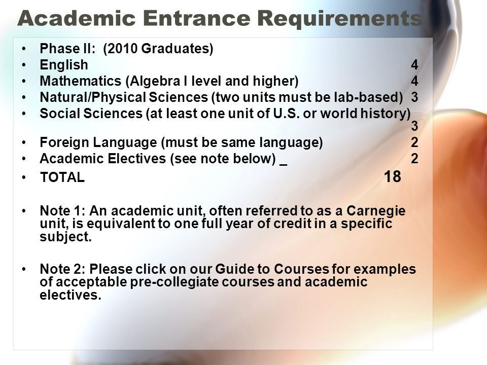 Academic Entrance Requirements Phase II: (2010 Graduates) English 4 Mathematics (Algebra I level and higher) 4 Natural/Physical Sciences (two units must be lab-based) 3 Social Sciences (at least one unit of U.S.