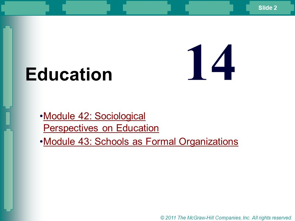 Slide 2 © 2011 The McGraw-Hill Companies, Inc. All rights reserved. Module 42: Sociological Perspectives on EducationModule 42: Sociological Perspecti