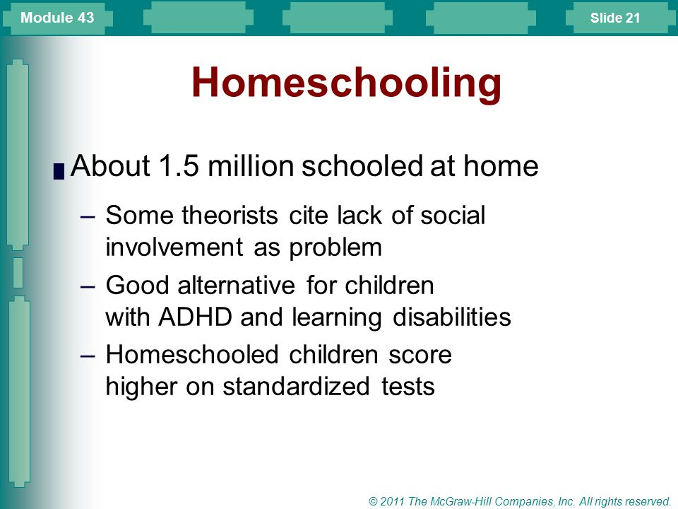 Slide 21 © 2011 The McGraw-Hill Companies, Inc. All rights reserved. Homeschooling █ About 1.5 million schooled at home –Some theorists cite lack of s