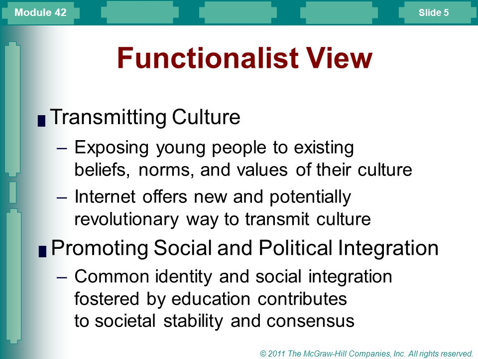 Slide 5 © 2011 The McGraw-Hill Companies, Inc. All rights reserved. Functionalist View █ Transmitting Culture –Exposing young people to existing belie