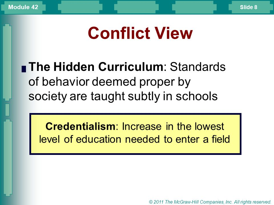 Slide 8 © 2011 The McGraw-Hill Companies, Inc. All rights reserved. Conflict View █ The Hidden Curriculum: Standards of behavior deemed proper by soci