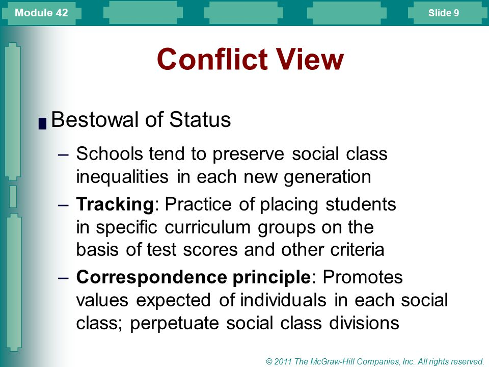 Slide 9 © 2011 The McGraw-Hill Companies, Inc. All rights reserved. Conflict View █ Bestowal of Status –Schools tend to preserve social class inequali