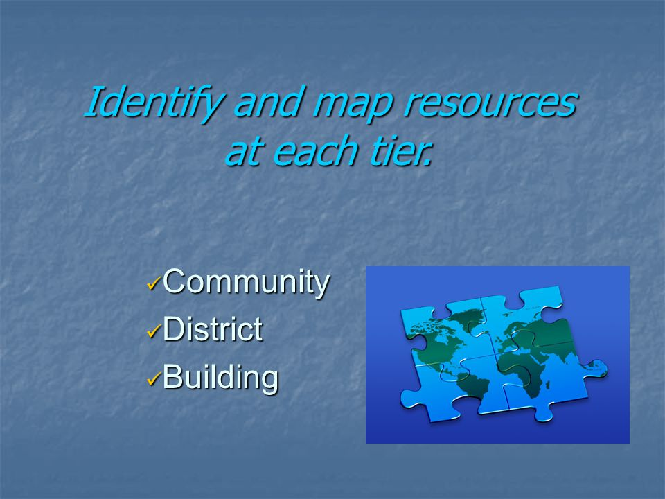 Community Community District District Building Building Identify and map resources at each tier.